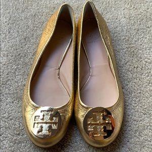 Tory Burch Gold Reva Ballet Flats size 9.5 M MINT